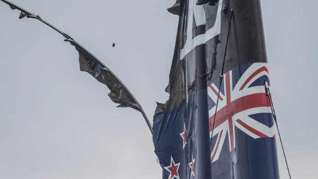 The top of Team New Zealand's second damaged wingsail after their capsize.