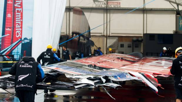 Team New Zealand start repair work on their damaged wingsails after a costly day of America's Cup challengers semifinal ...
