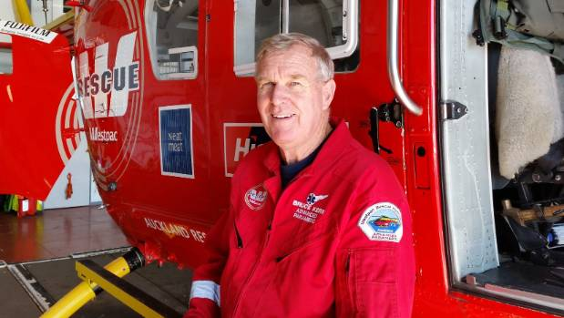 Intensive-care paramedic Bruce Kerr with Auckland Rescue Helicopter Trust's Westpac rescue helicopter.