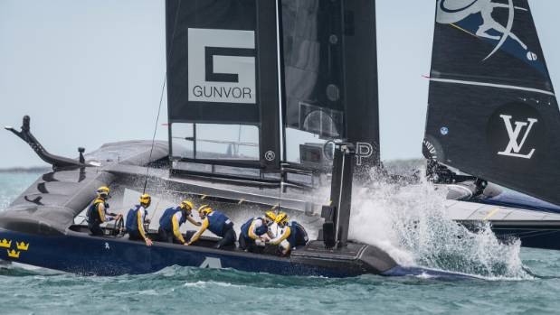 Artemis in action against Team Japan in the America's Cup challenger series semifinals.