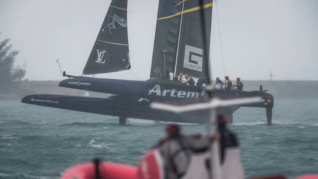 Artemis rides the rough waves in Bermuda during the America's Cup challenger series semifinals.