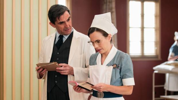 Stephen McGann and Laura Main film a scene for Call The Midwife.