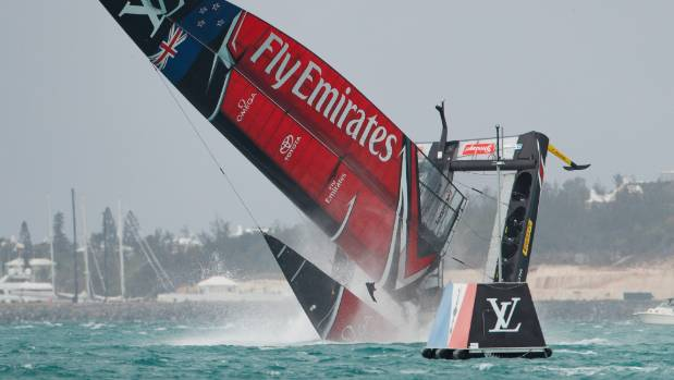 Team New Zealand goes down in a spectacular pitch-pole capsize during the America's Cup challenger semifinals in Bermuda.