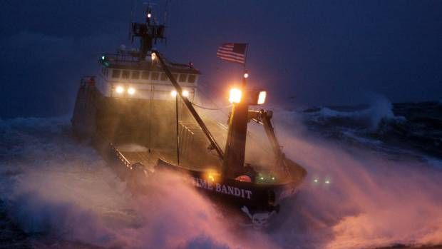 The boat Time Bandit in rough seas filming Deadliest Catch.