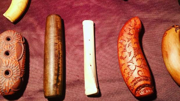A collection of Taonga Puoro instruments.