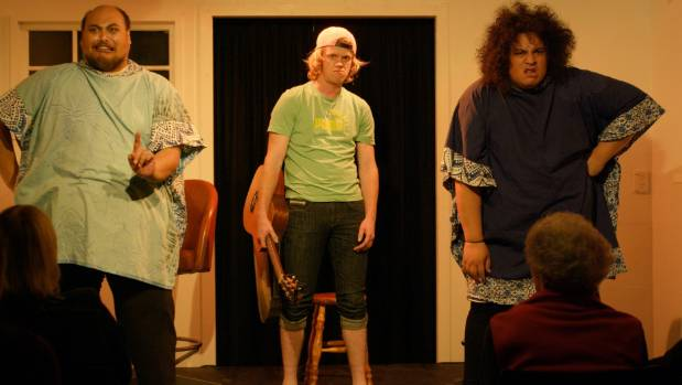 Shadrack Simi, left, Chris Martin and Brady Peeti in a scene from Larger Than Life.