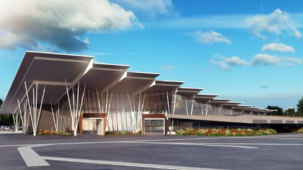 "Drawings of the ""new iconic build"" for the New Plymouth Airport expansion."