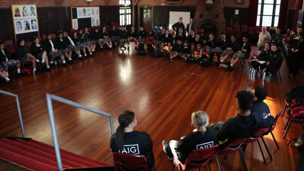 St Mary's College rugby players listen to Ardie Savea, Nehe Milner-Skudder, Hazel Tubic and Sosoli Talawadua at a ...