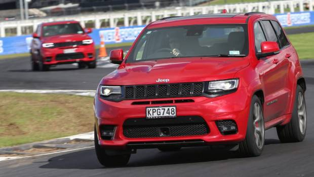 Jeep Grand Cherokee SRTs blast around Pukekohe during the Australian media's introduction to the facelifted model.