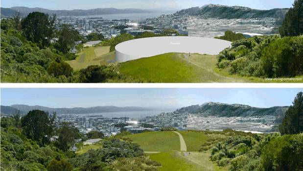 Artists impressions: Top, the 35m litre reservoir at Prince of Wales Park in Mount Cook during construction. Bottom, the ...