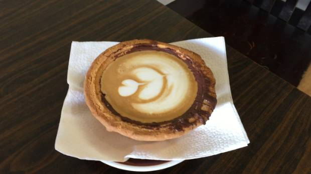 The piefee: sweet, biscuity pastry, lined with chocolate and filled with searing hot coffee.