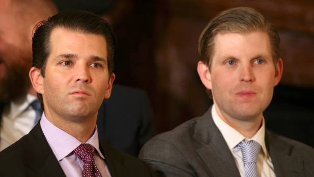 US President Donald Trump's sons Donald Trump Jr (left) and Eric Trump, who now run their father's business interests.