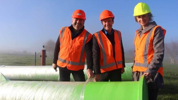 Waikato Mayor Allan Sanson, left, NZTA regional manager Dennis Crequer and Te Awa Charitable Trust trustee Sarah Ulmer ...
