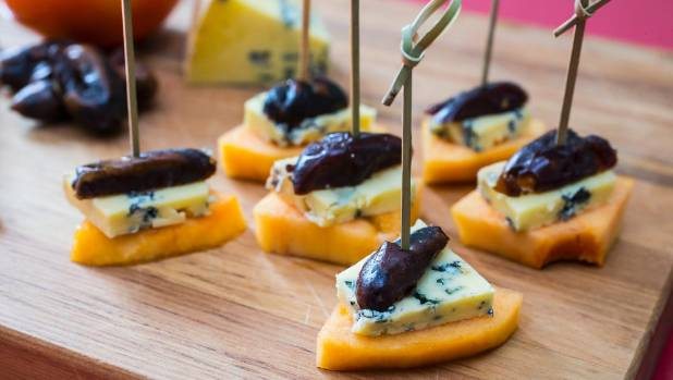Persimmon, blue cheese and date bites are a perfect flavour combination.