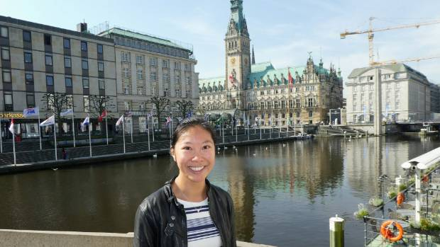 Rebecca Young likes by the town hall, the Hamburg Rathaus.