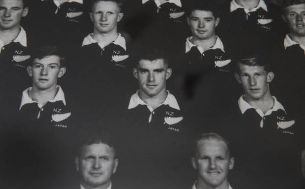 Junior All Blacks Roger Green, left in the second row, Colin Meads and Kel Tremain.