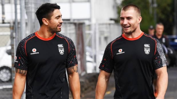Shaun Johnson and Kieran Foran arrive for training.
