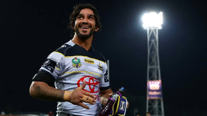 b75e3aa04 Cowboys captain Johnathan Thurston is all smiles after returning to help  his side hammer the Eels