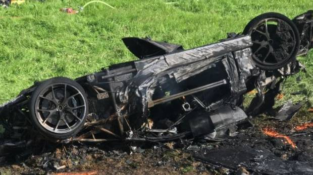The Crash Left The Supercar A Twisted, Blackened Mess.