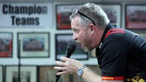 Auctioneer Kevin Deane kept the dollars rolling in as people placed bids on the special edition Hautapu rugby jerseys.