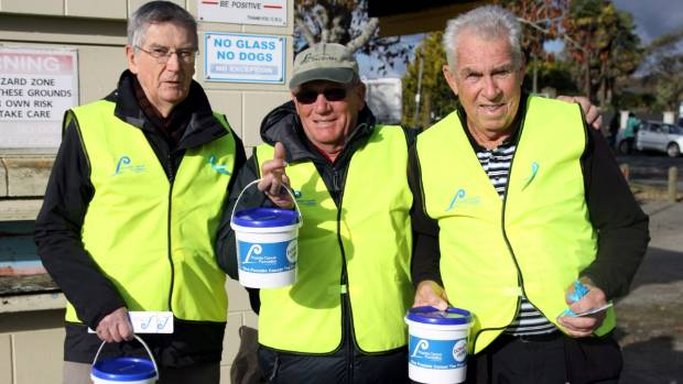 Volunteer collectors Des McMahon, Vic Robson and Ron Greenwood were on the gates of Memorial Park and highlighting the ...