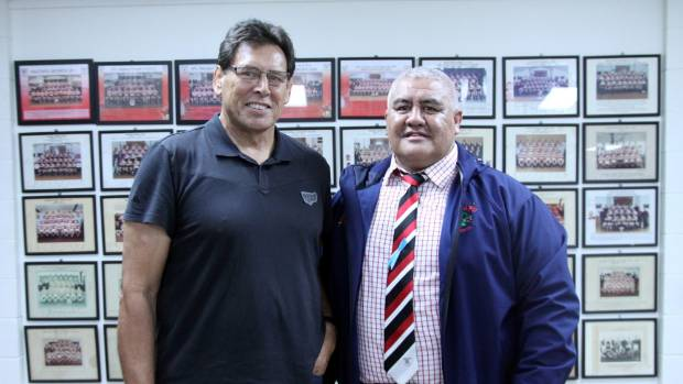 Prostate Cancer Foundation ambassador Wayne Shelford and Hautapu Rugby Club's Phil Herewini, at the conclusion of the ...