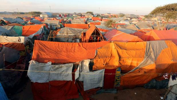 A section of the Al-cadaala camp of the internally displaced people following the famine in Somalia's capital Mogadishu.
