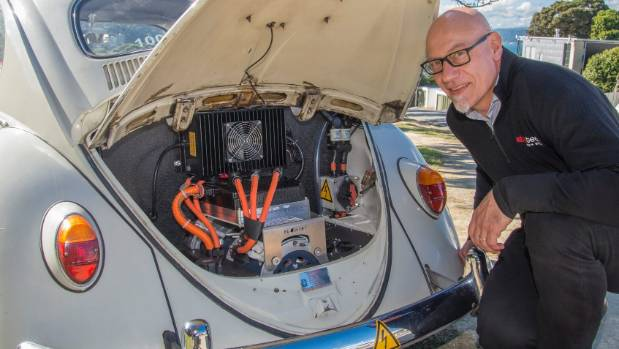 Carl Penwarden who has converted his 1965 VW Beetle into an electric vehicle.