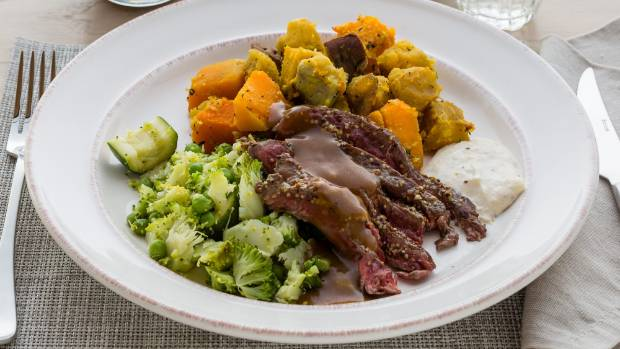 Roast beef with thyme roasted vegetables & gravy.