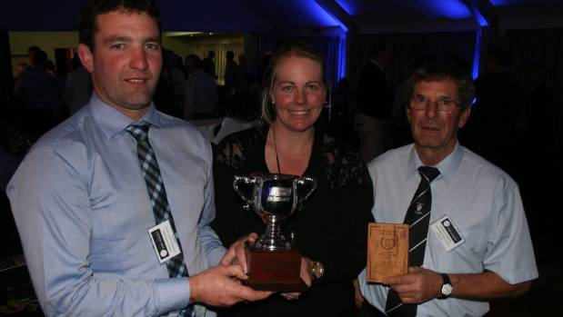 Simon and Sarah Paterson and Allan Paterson were the big winners  at the New Zealand Ewe Hogget Competition.
