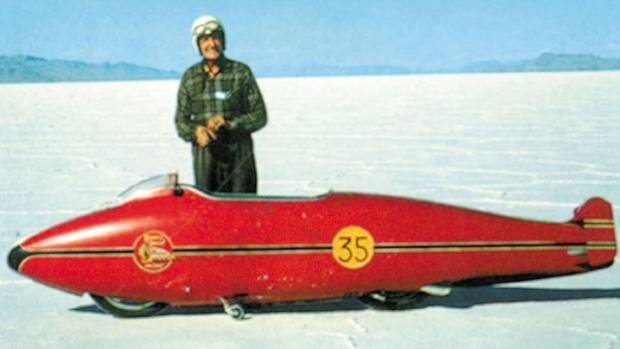 World's fastest Indian. Burt Munro and his famous Indian motorcycle on the Bonneville Salt Flats.