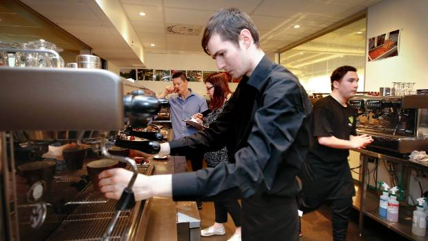 WelTec barista Hamish O'Donnell takes part in the Barista Challenge, in which baristas must create six coffees - two ...