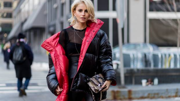 fc4cad6037 Actress and model Caroline Daur wearing a Vetements puffer jacket outside  the Dion Lee show during