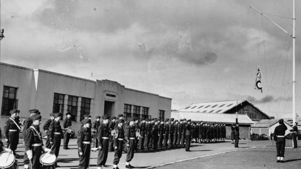 A parade in front of the headquarters building in Hobsonville, post World War II.