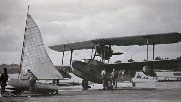 Seaplane at the Hobsonville air base in 1943.