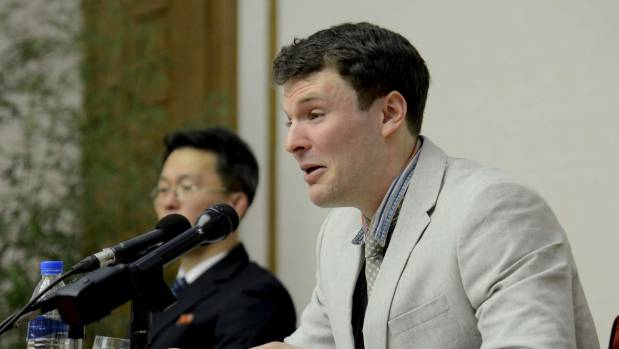 Otto Warmbier speaks at a news conference in North Korea in 2016