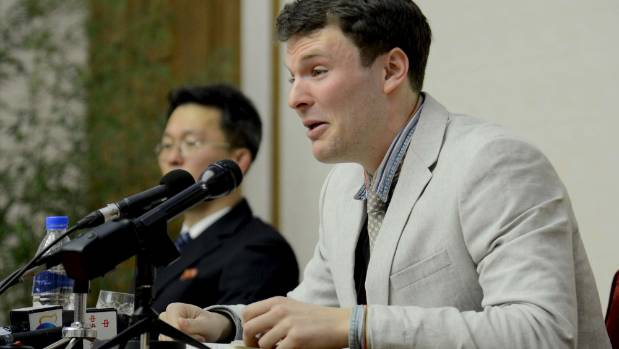 Otto Warmbier at a news conference in the months before his sentencing in 2016