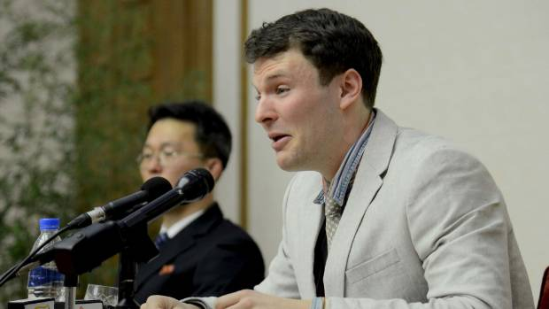 Otto Warmbier breaks down at a news conference in the months before his sentencing in 2016.