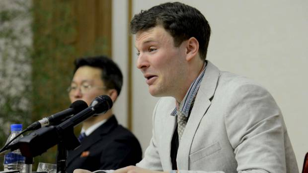 Otto Warmbier at a news conference in the months before his sentencing in 2016.