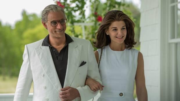 Alexander Siddig (Aristotle Onassis) and Katie Holmes (Jackie Kennedy).