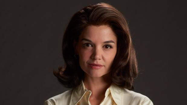 Katie Holmes plays Jackie Kennedy (then Onassis) in The Kennedys: After Camelot.