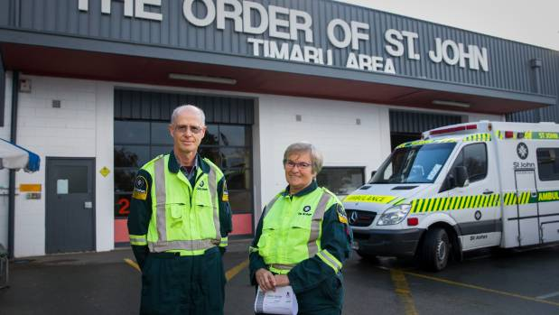 St John volunteers Barry Adie and Blue Ker helped deliver a baby in Burkes Pass recently.