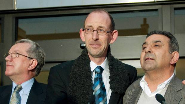 David Bain flanked by Michael Reed QC, left, and Joe Karam after the not-guilty verdict of June 2009.