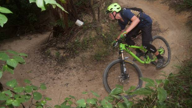 A rider on the Serendipity trail in Polhill.