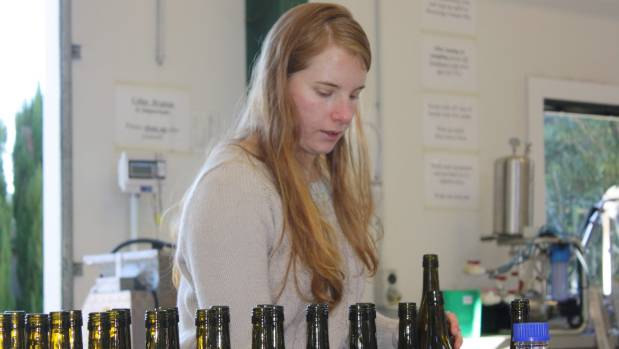 First year NMIT student and future winemaker Rebecca Curran focuses on bottling her blend, created using grapes grown at ...