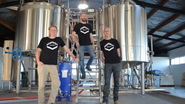 The crew from Urbanaut Brewing Company, originally from Marton. From left, Simon Watson, Bruce Turner and Thomas Rowe.