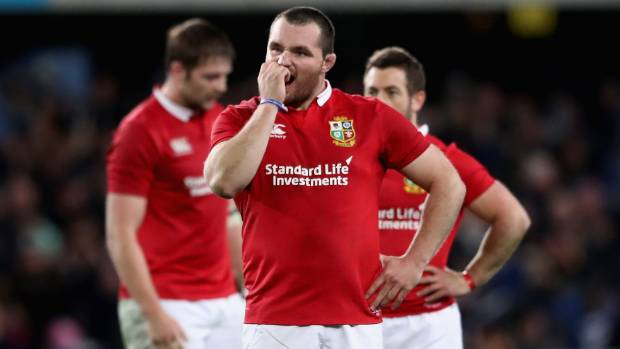 Jack McGrath of the Lions looks dejected after their defeat by the Highlanders at Forsyth Barr Stadium.