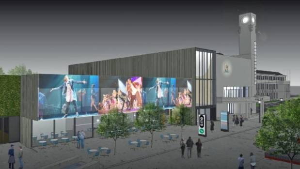 An artist's impression of the exterior of Lower Hutt's soon to be finished events centre and  refurbishedTown Hall,