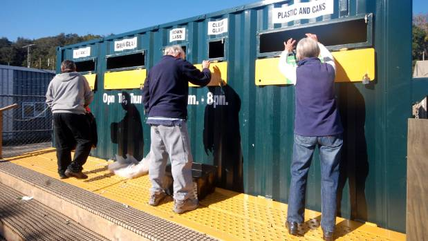 Three days a week: The Upper Hutt free recycling drop-off station in orderly action.