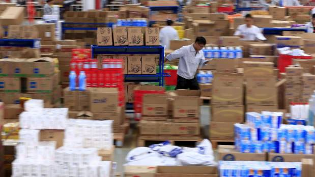A Tmall logistics centre in China that houses products from many international exporters.